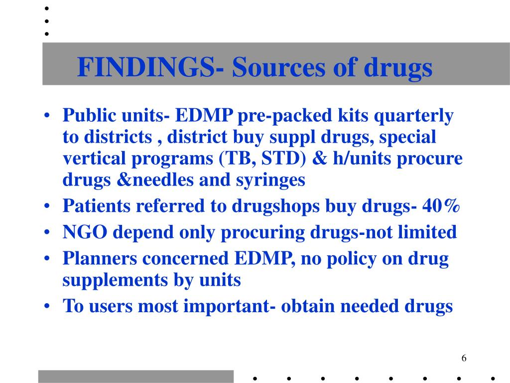 FINDINGS- Sources of drugs