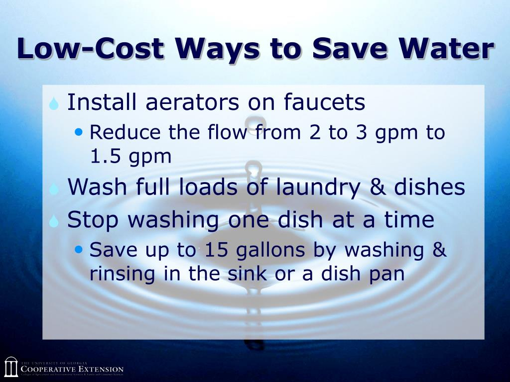 Low-Cost Ways to Save Water