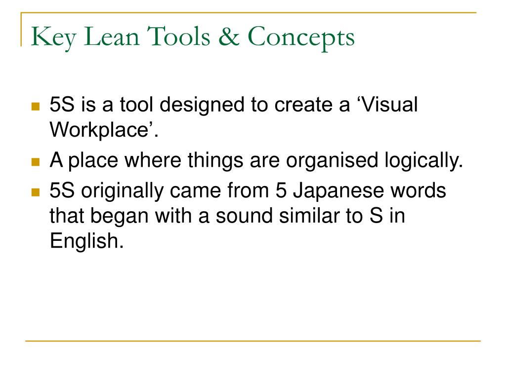 Key Lean Tools & Concepts
