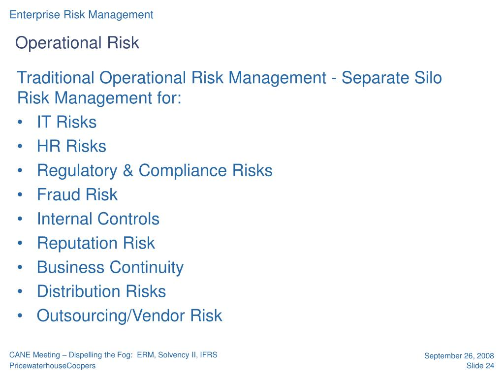Traditional Operational Risk Management - Separate Silo Risk Management for: