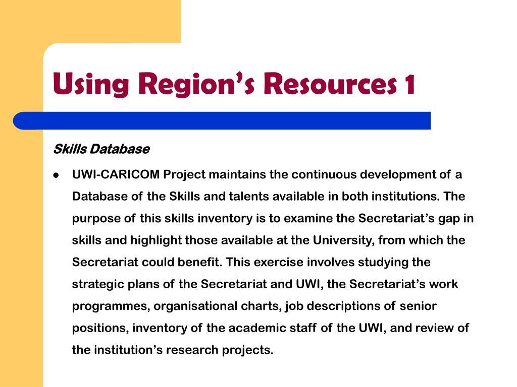 Using Region's Resources 1