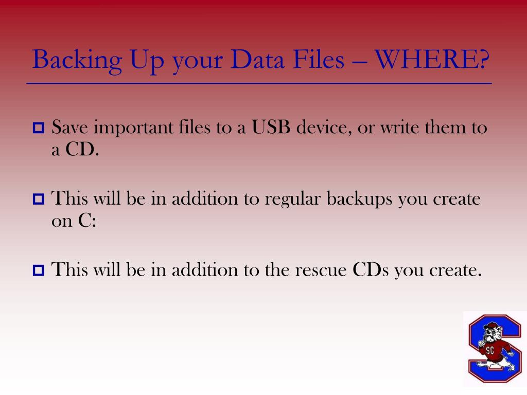 Backing Up your Data Files – WHERE?