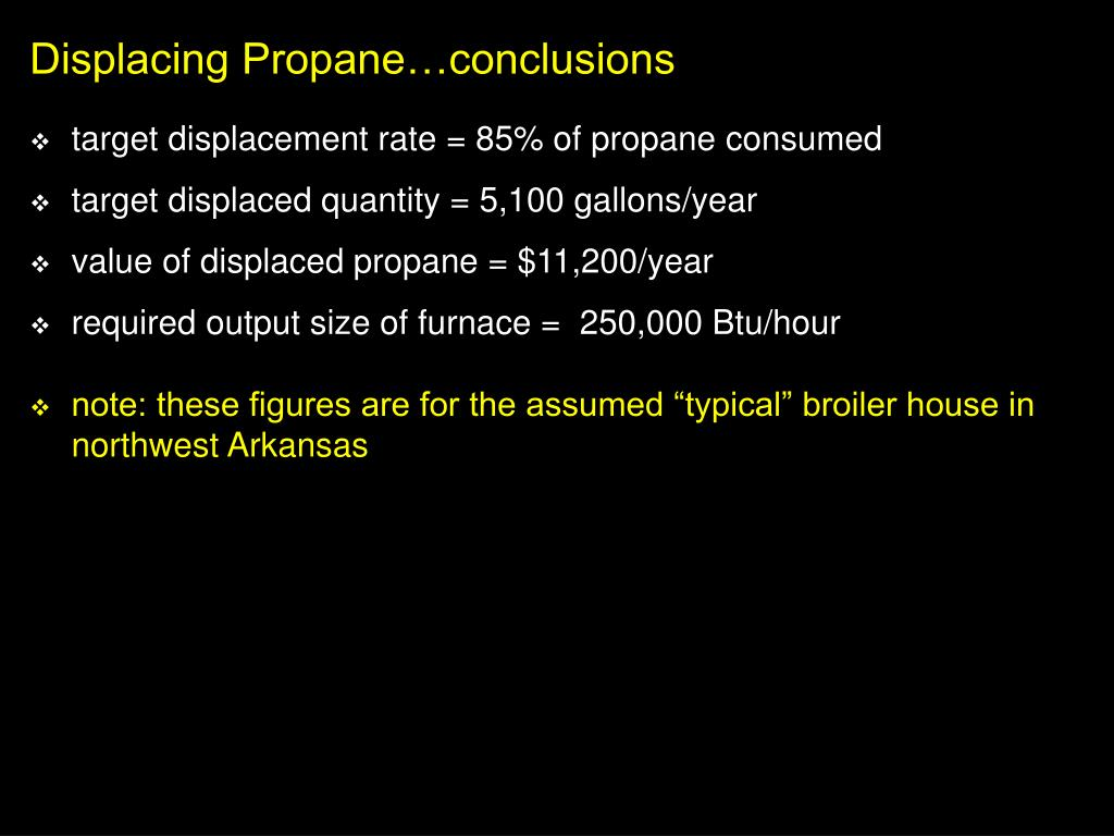 Displacing Propane…conclusions