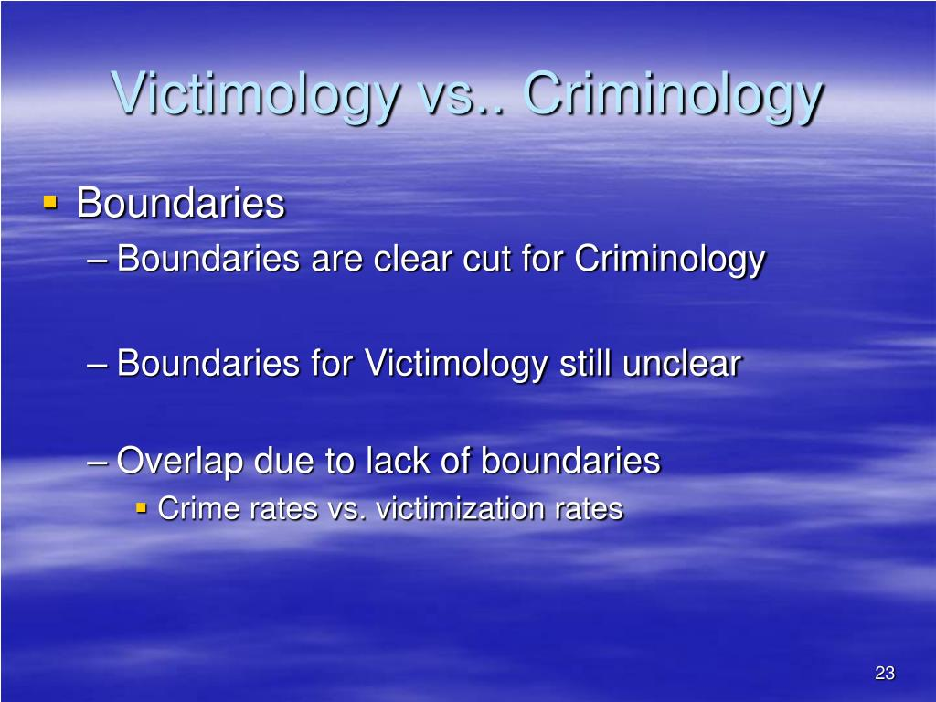 crime and victimology 1 criminology is the social-scientific study of crime as an individual and social phenomenon criminological research areas include the incidence and forms of crime.
