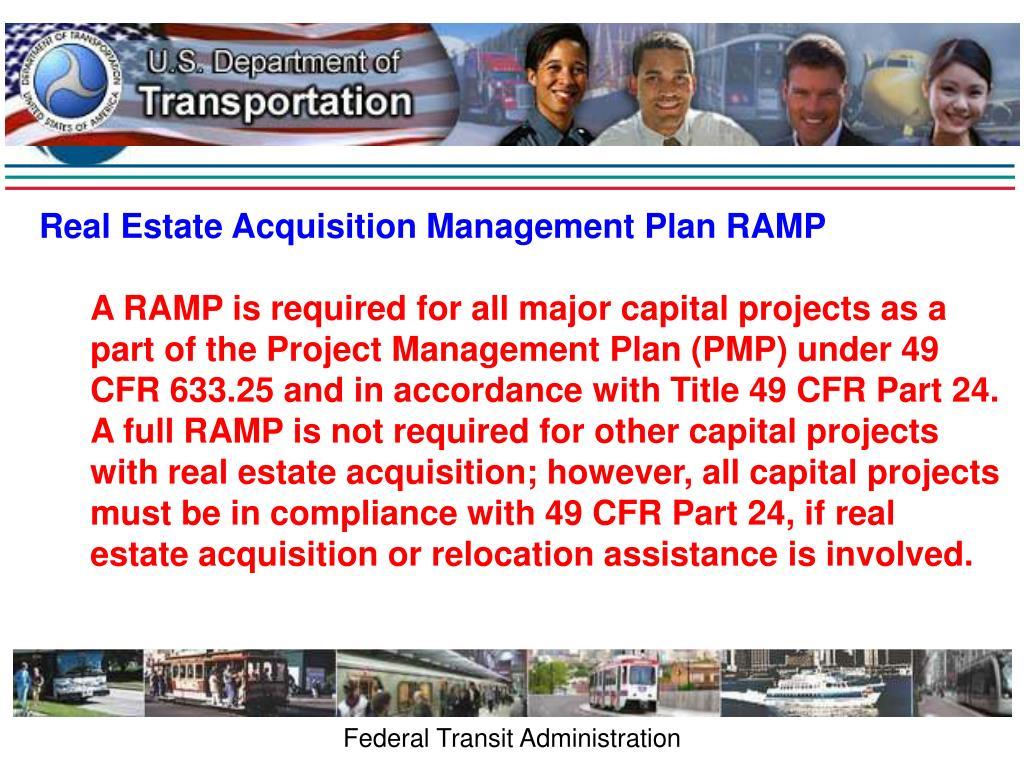 Real Estate Acquisition Management Plan RAMP
