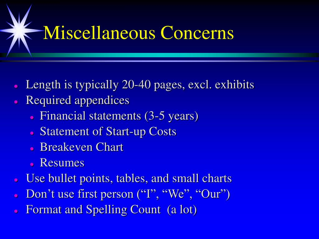 Miscellaneous Concerns