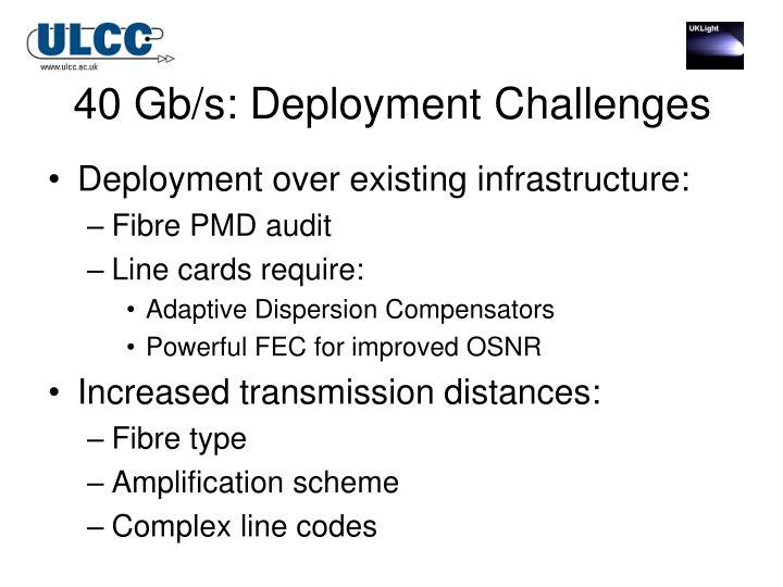 40 Gb/s: Deployment Challenges