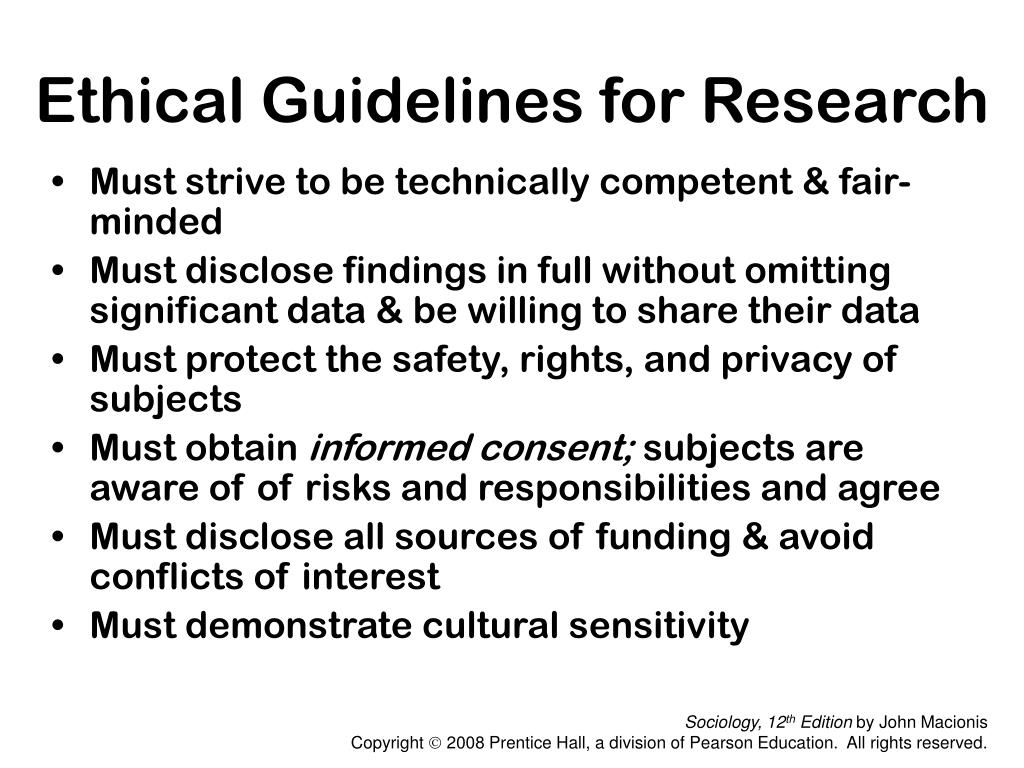 Ethical Guidelines for Research