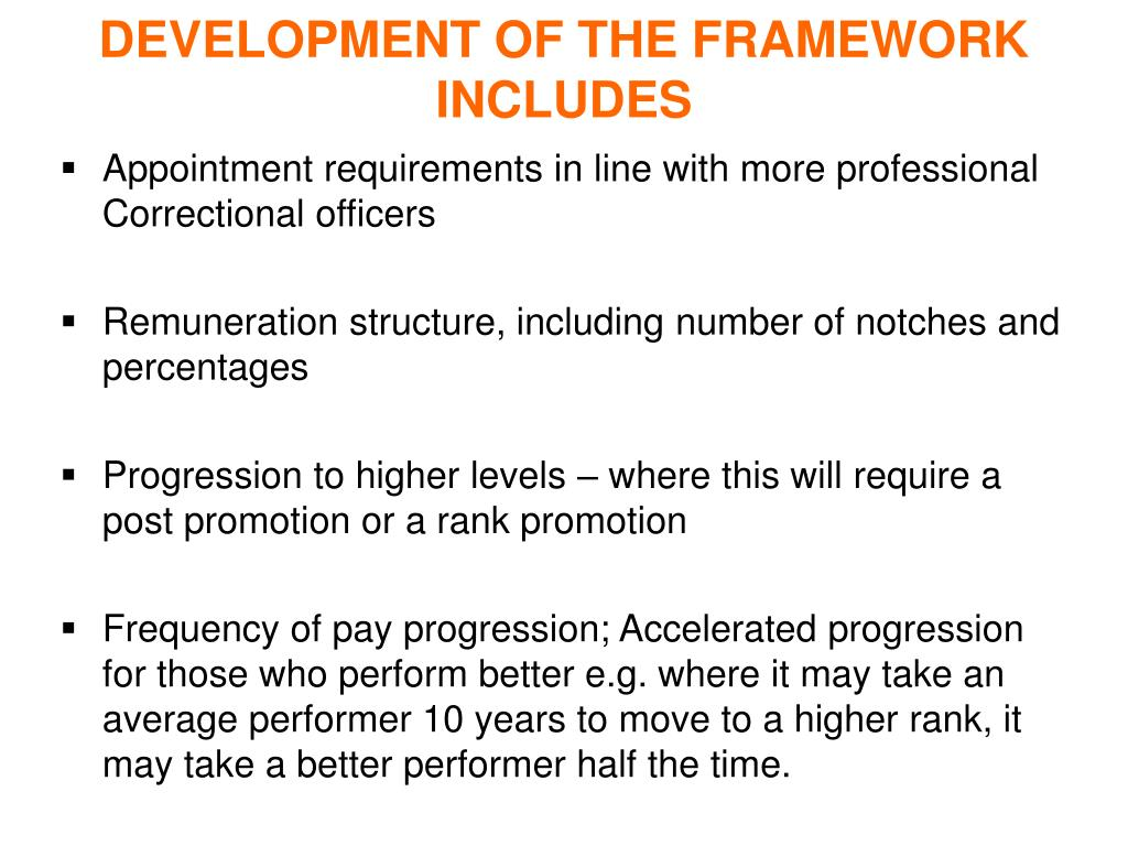 DEVELOPMENT OF THE FRAMEWORK INCLUDES