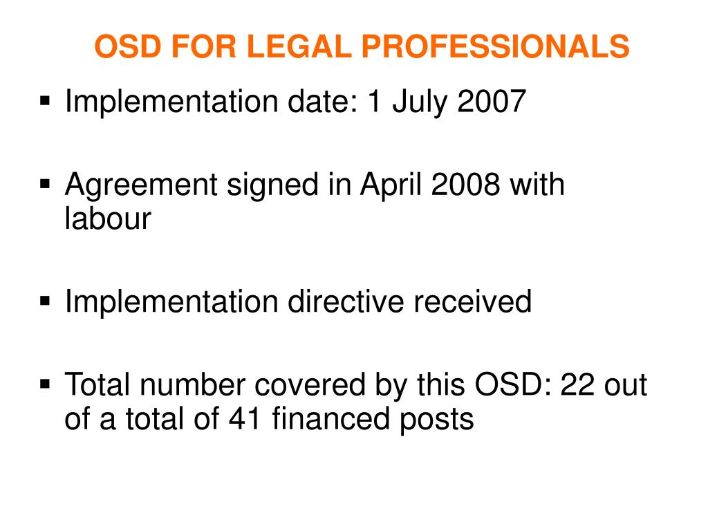 OSD FOR LEGAL PROFESSIONALS
