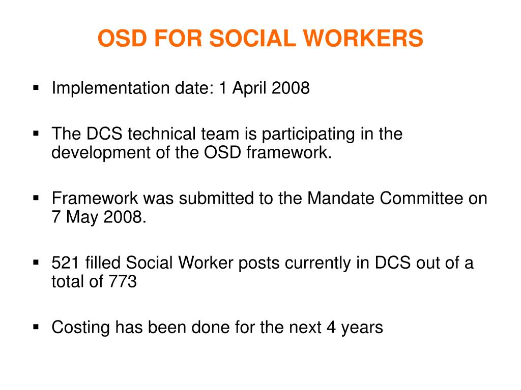 OSD FOR SOCIAL WORKERS