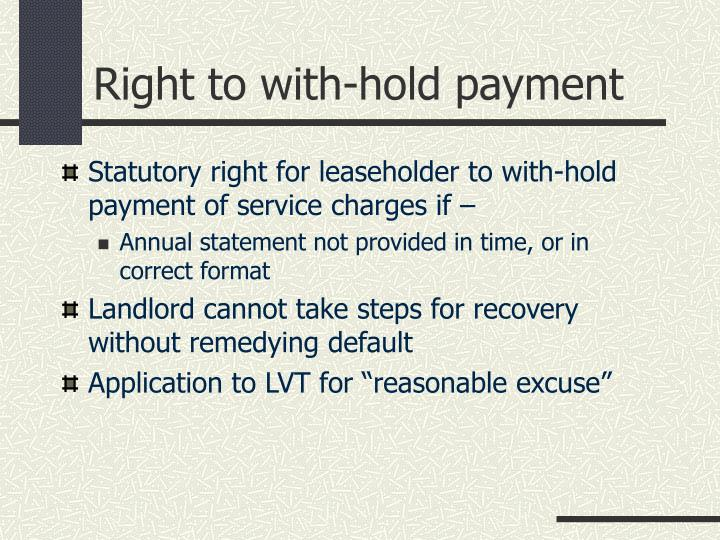 Right to with-hold payment
