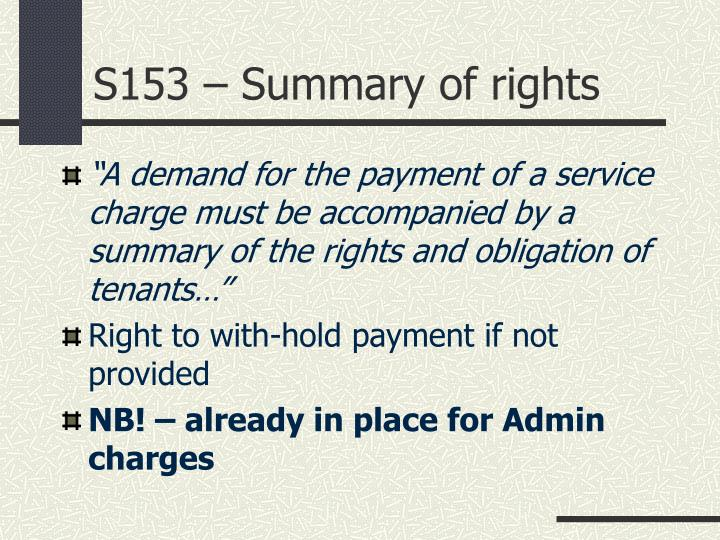 S153 – Summary of rights