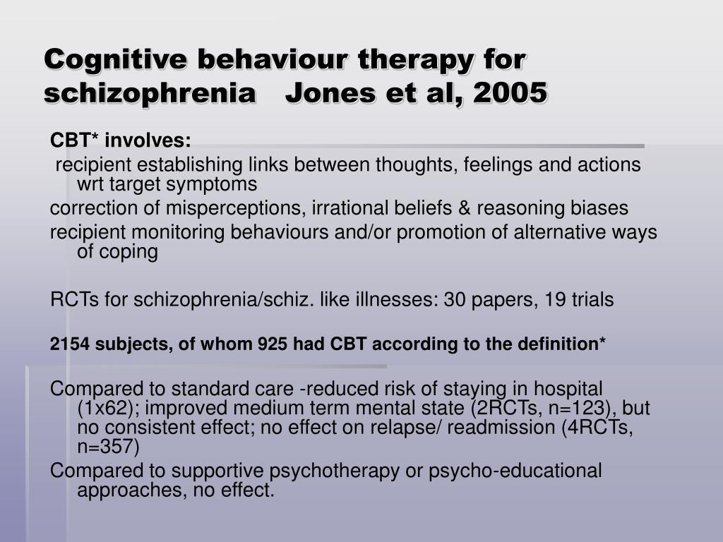 Cognitive behaviour therapy for schizophrenia   Jones et al, 2005