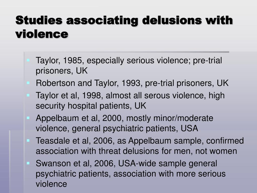 Studies associating delusions with violence