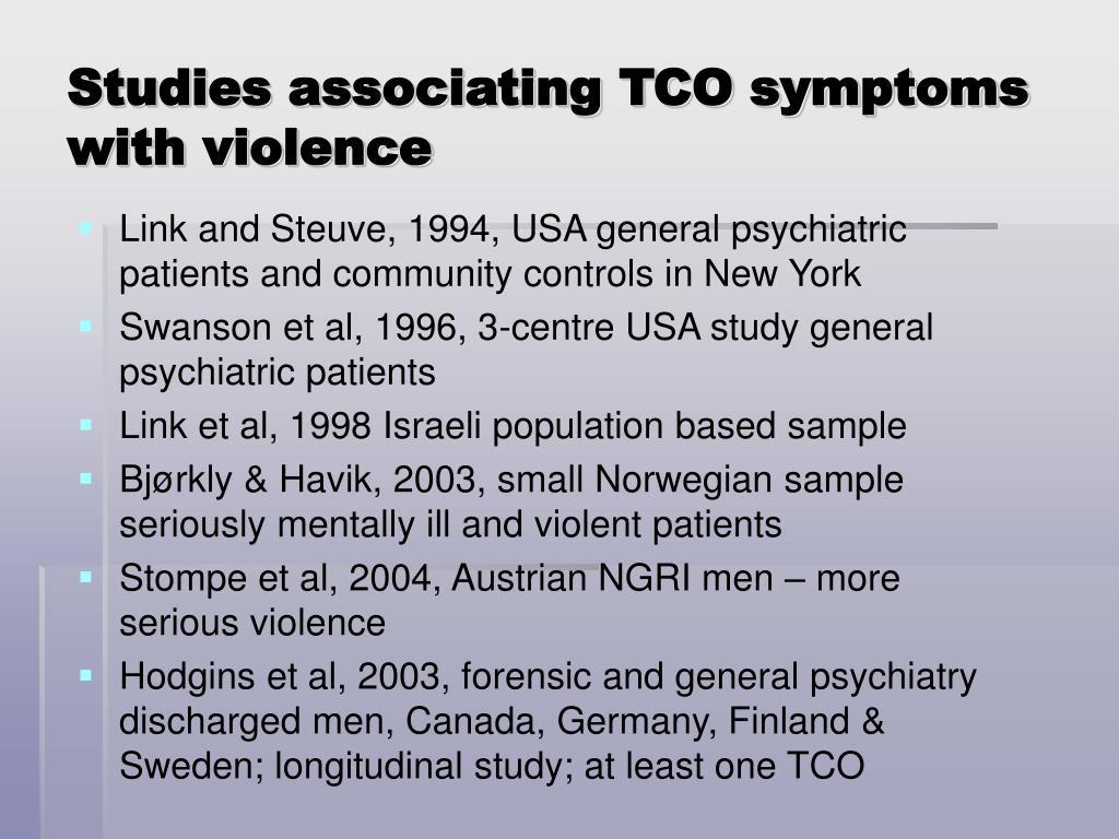 Studies associating TCO symptoms with violence