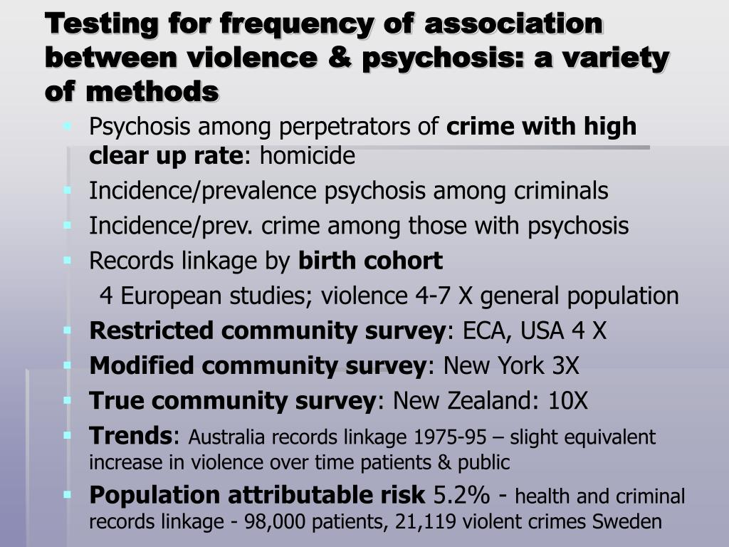 Testing for frequency of association between violence & psychosis: a variety of methods