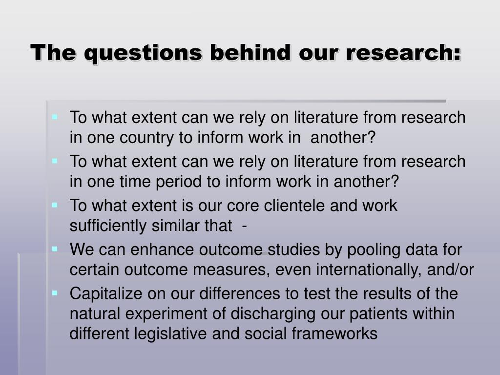 The questions behind our research: