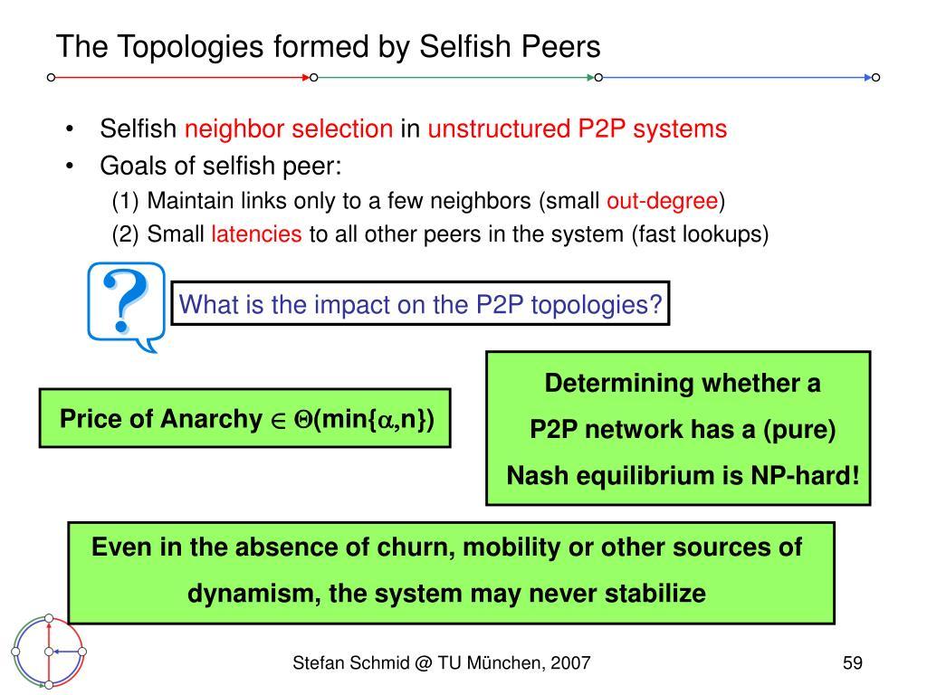 The Topologies formed by Selfish Peers