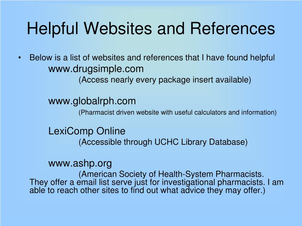 Helpful Websites and References