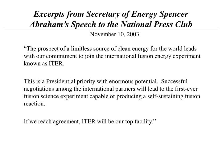 Excerpts from Secretary of Energy Spencer Abraham's Speech to the National Press Club