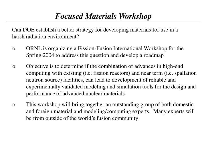 Focused Materials Workshop
