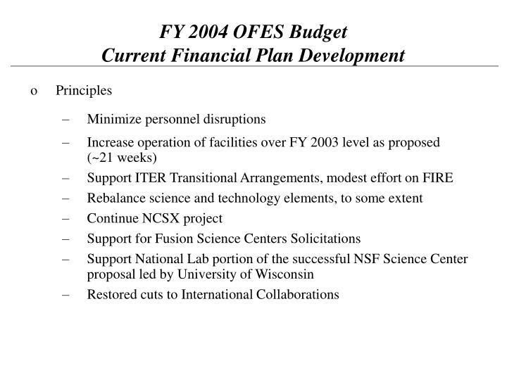 FY 2004 OFES Budget