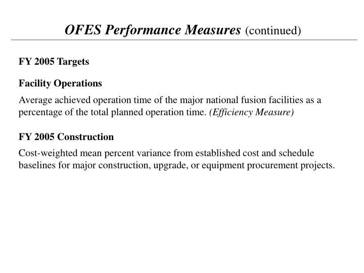 OFES Performance Measures