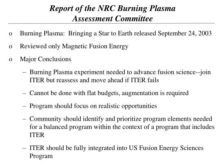 Report of the NRC Burning Plasma