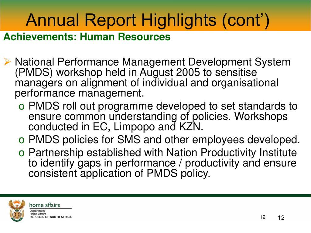 Achievements: Human Resources