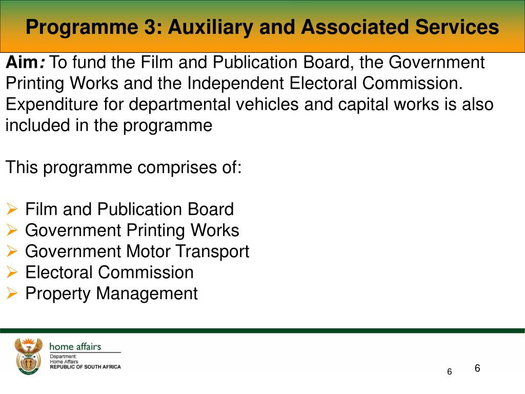 Programme 3: Auxiliary and Associated Services