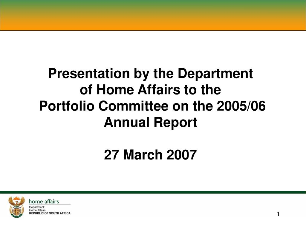 Presentation by the Department