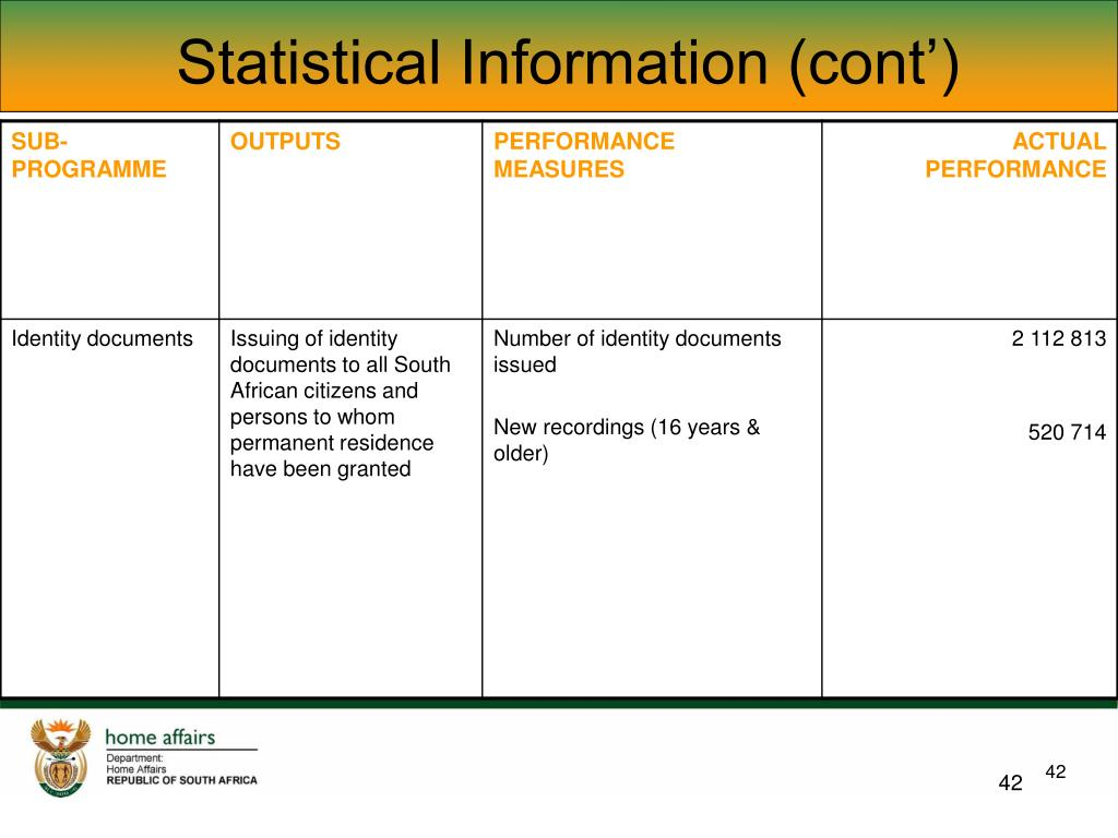 Statistical Information (cont')