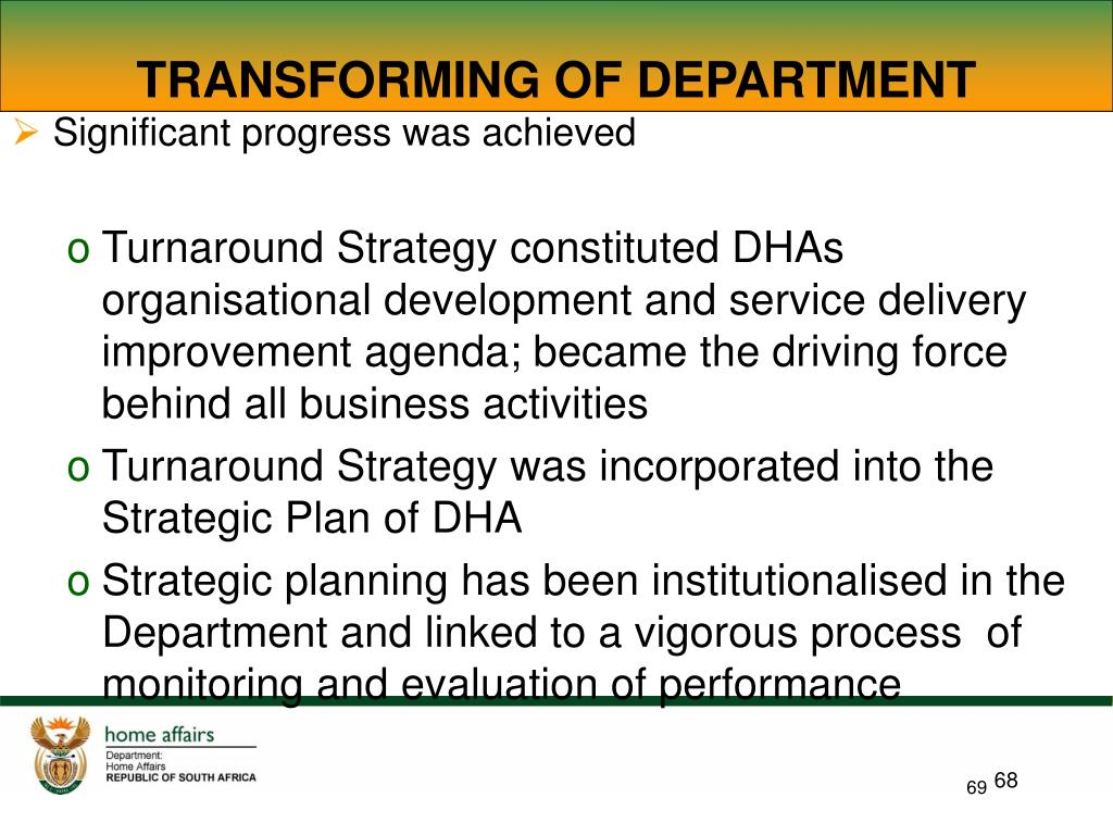 TRANSFORMING OF DEPARTMENT