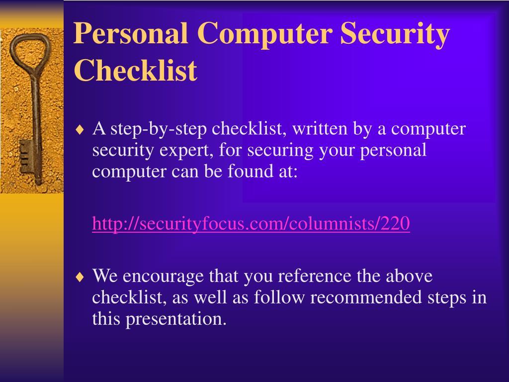Personal Computer Security Checklist