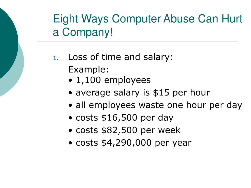 Eight Ways Computer Abuse Can Hurt a Company!