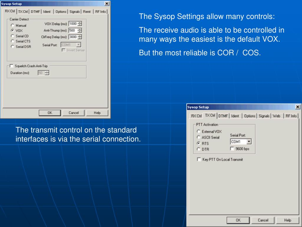 The Sysop Settings allow many controls: