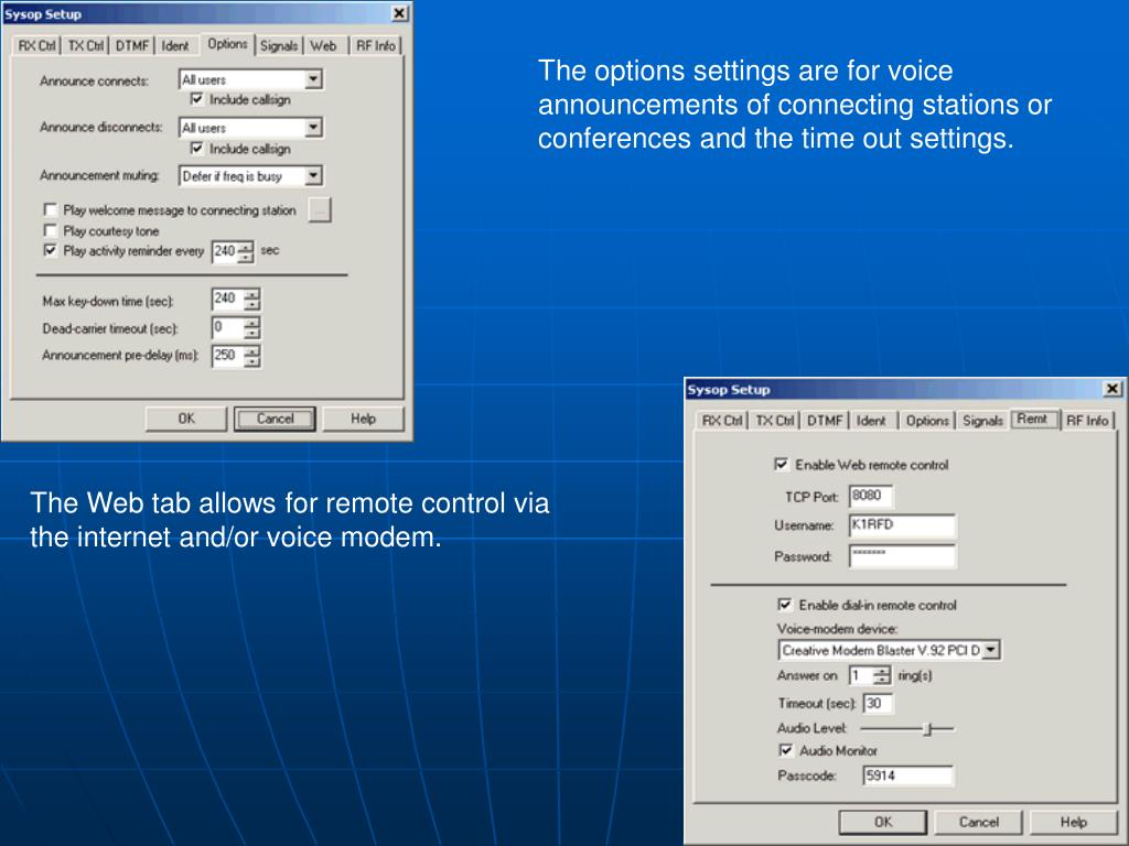 The options settings are for voice announcements of connecting stations or conferences and the time out settings.