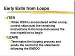 early exits from loops