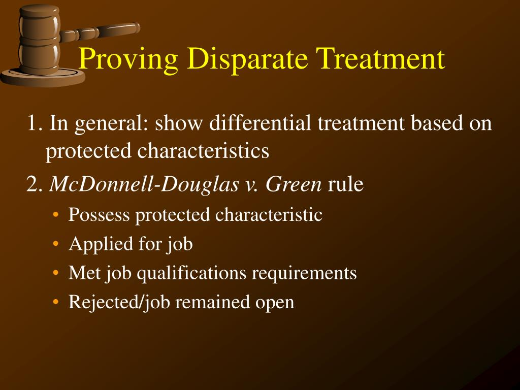 Proving Disparate Treatment