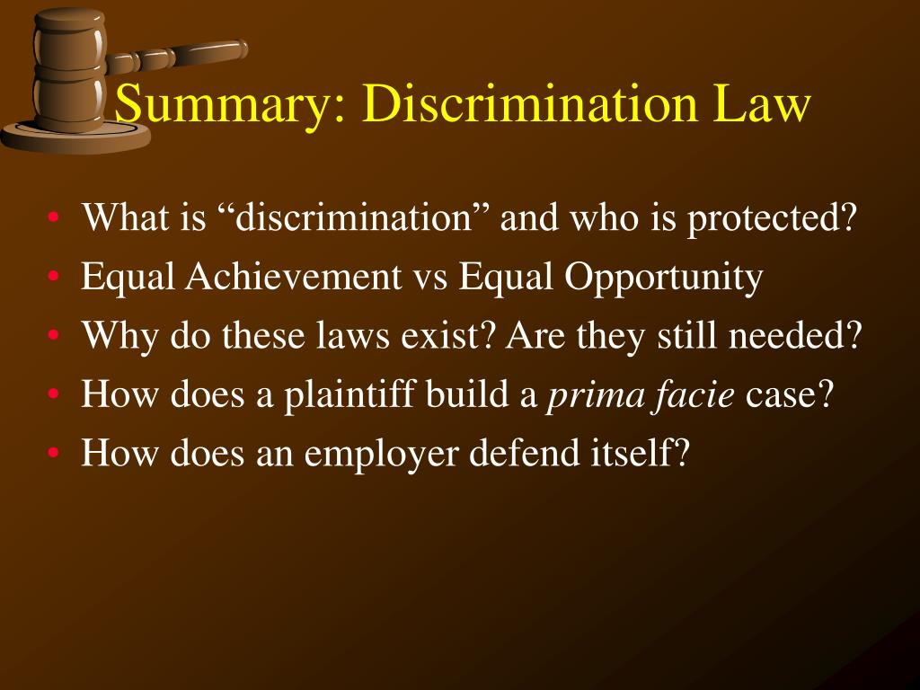 Summary: Discrimination Law