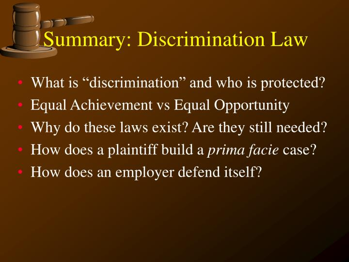 Summary discrimination law