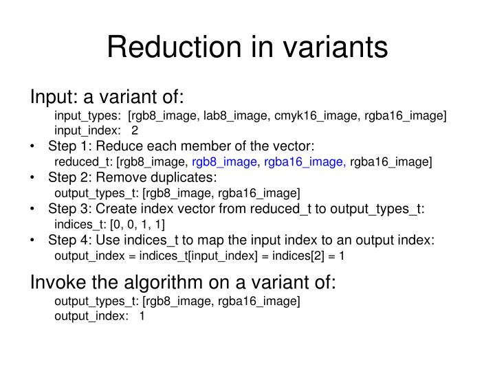 Reduction in variants