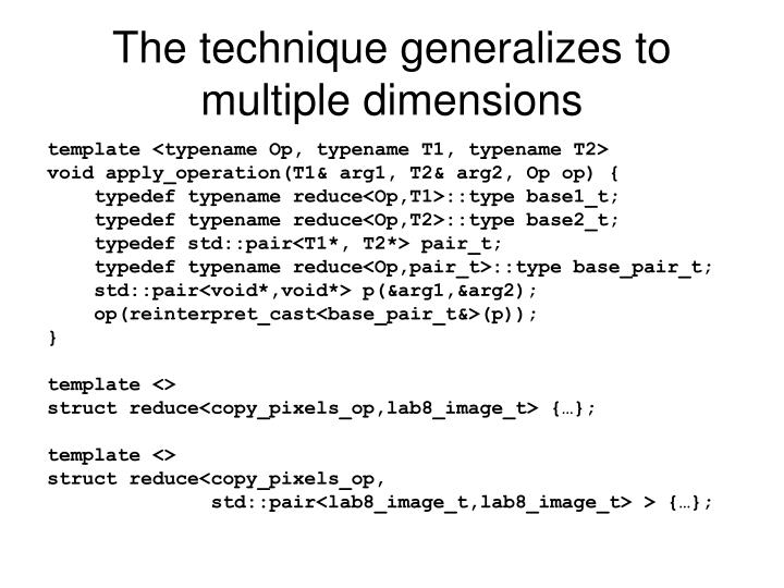 The technique generalizes to multiple dimensions