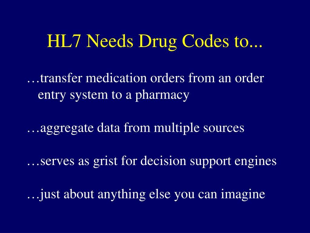 HL7 Needs Drug Codes to...