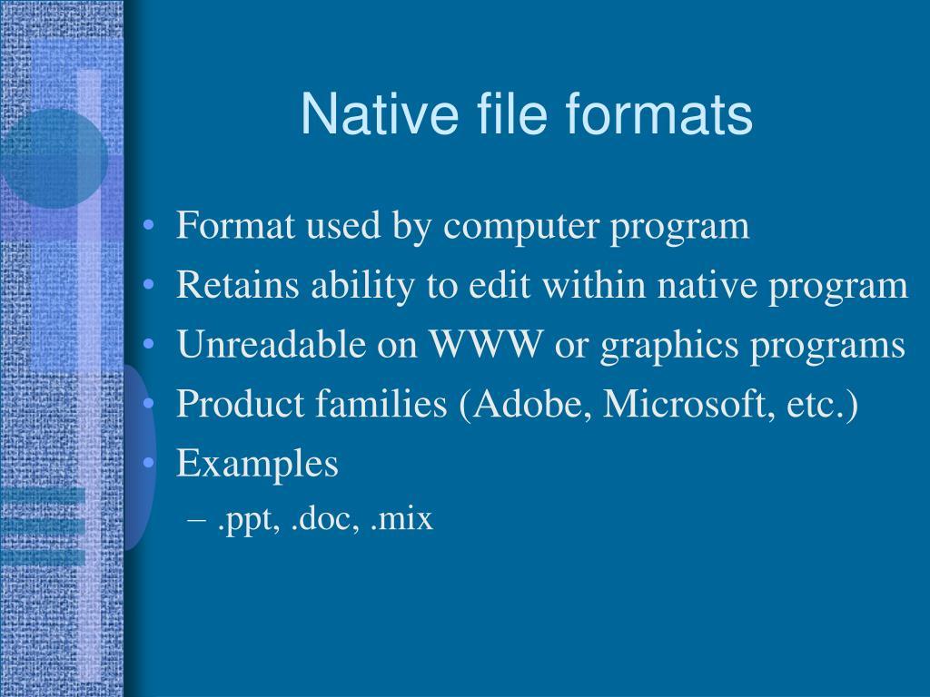 Native file formats