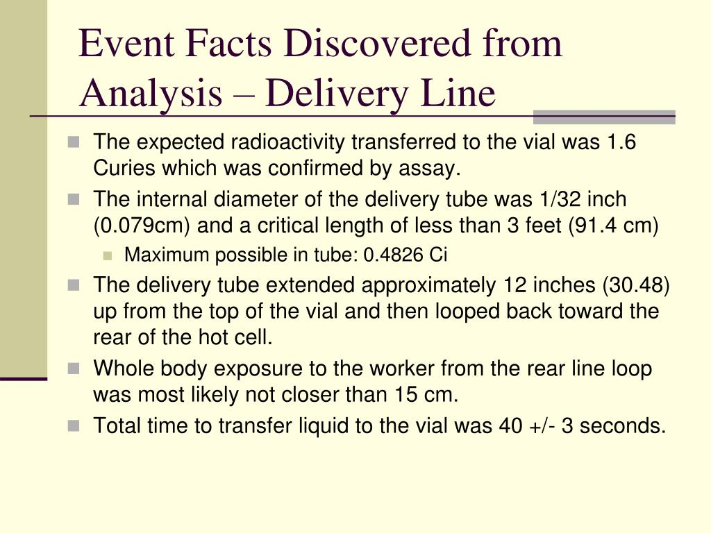 Event Facts Discovered from Analysis – Delivery Line
