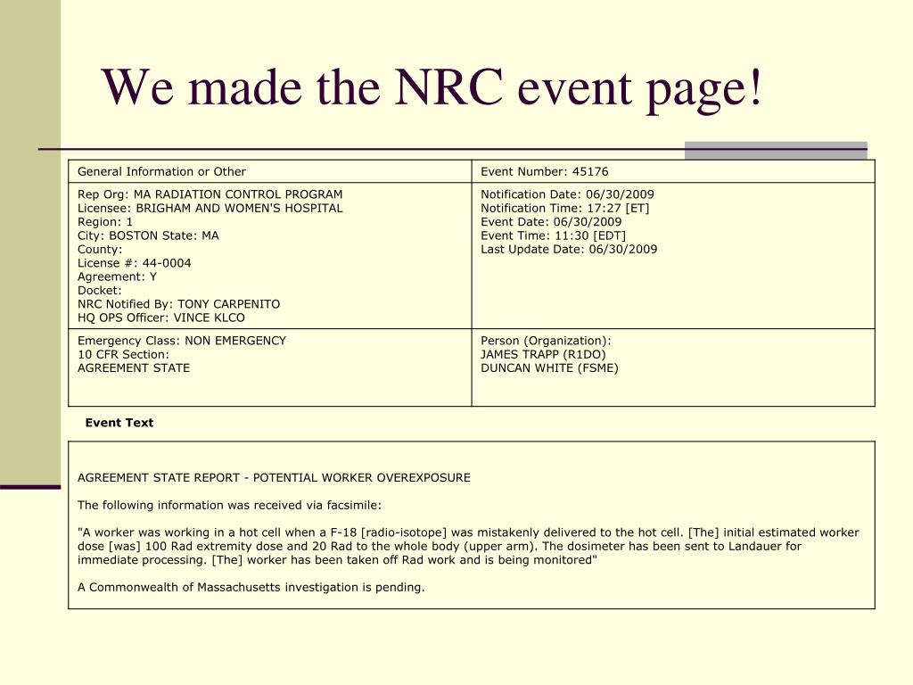 We made the NRC event page!