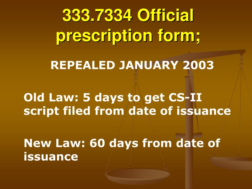 333.7334 Official prescription form;