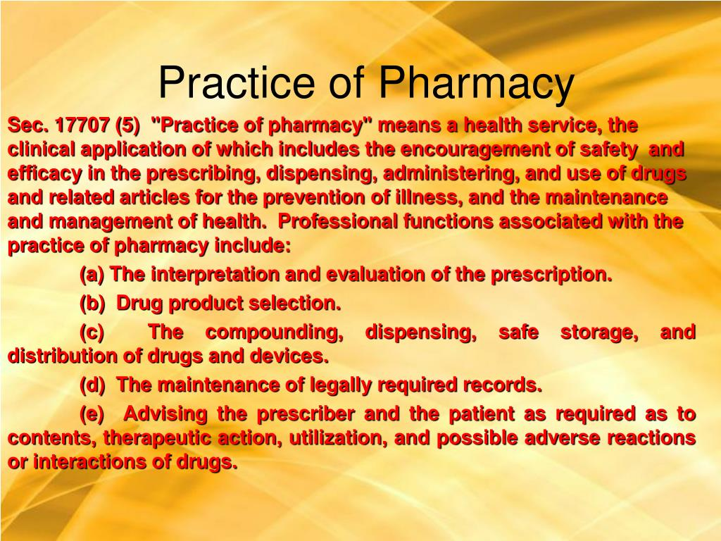 Practice of Pharmacy